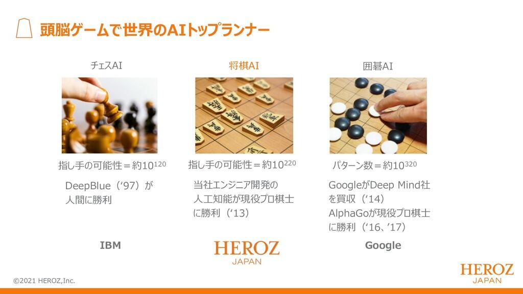 ©2021 HEROZ,Inc. 頭脳ゲームで世界のAIトップランナー IBM Google ...