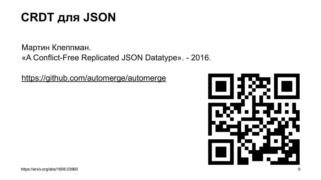 CRDT для JSON =9 https://arxiv.org/abs/1608.039...