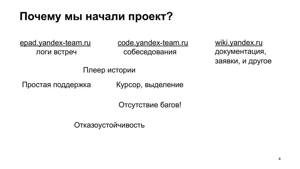 Почему мы начали проект? =4 code.yandex-team.ru...