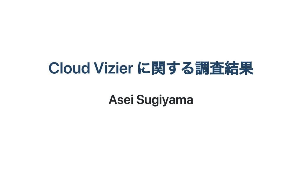 Cloud Vizier に関する調査結果 Asei Sugiyama