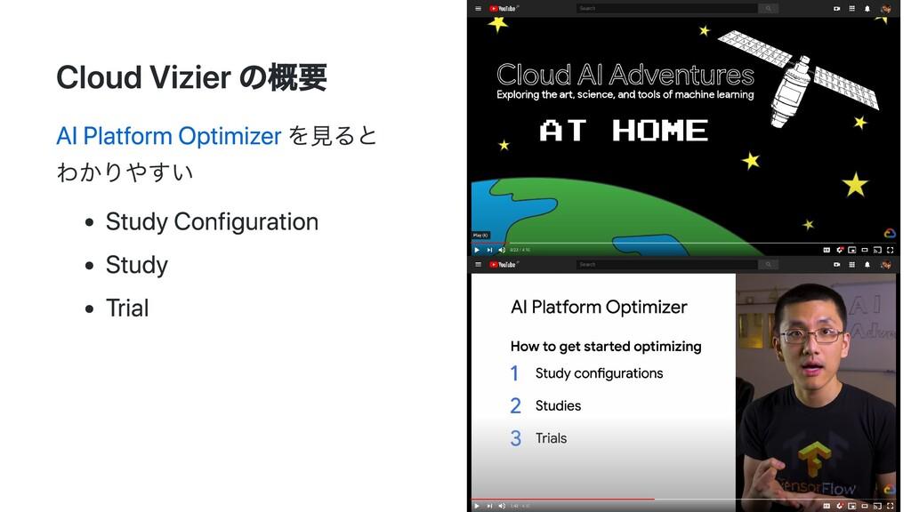 Cloud Vizier の概要 AI Platform Optimizer を⾒ると わかり...