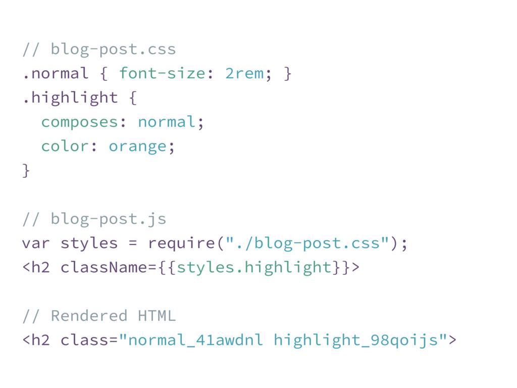 // blog-post.css .normal { font-size: 2rem; } ....
