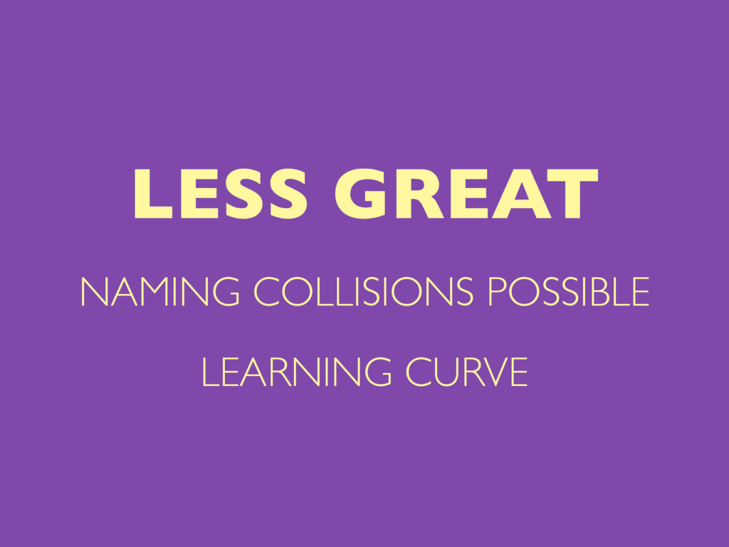 NAMING COLLISIONS POSSIBLE LEARNING CURVE LESS ...