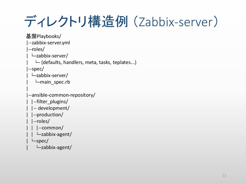ディレクトリ構造例 (Zabbix-server) 基盤Playbooks/ |--zabbi...