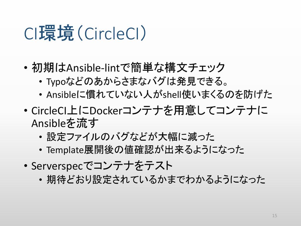 CI環境(CircleCI) • 初期はAnsible-lintで簡単な構文チェック • Ty...