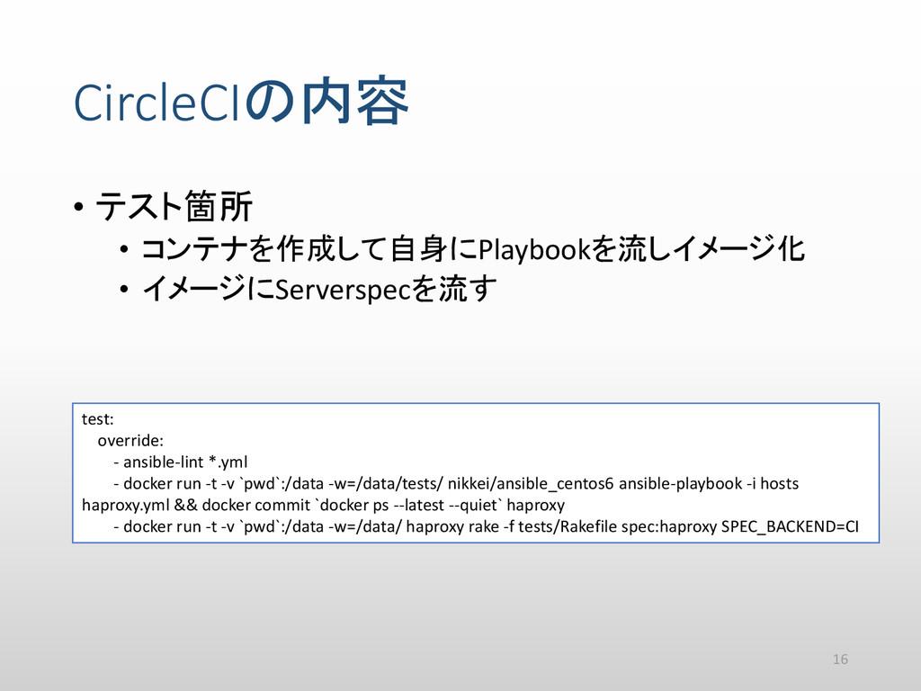CircleCIの内容 • テスト箇所 • コンテナを作成して自身にPlaybookを流しイメ...