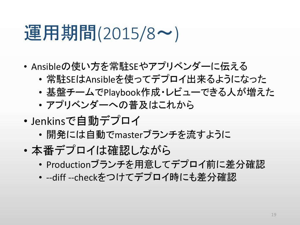 運用期間(2015/8~) • Ansibleの使い方を常駐SEやアプリベンダーに伝える • ...