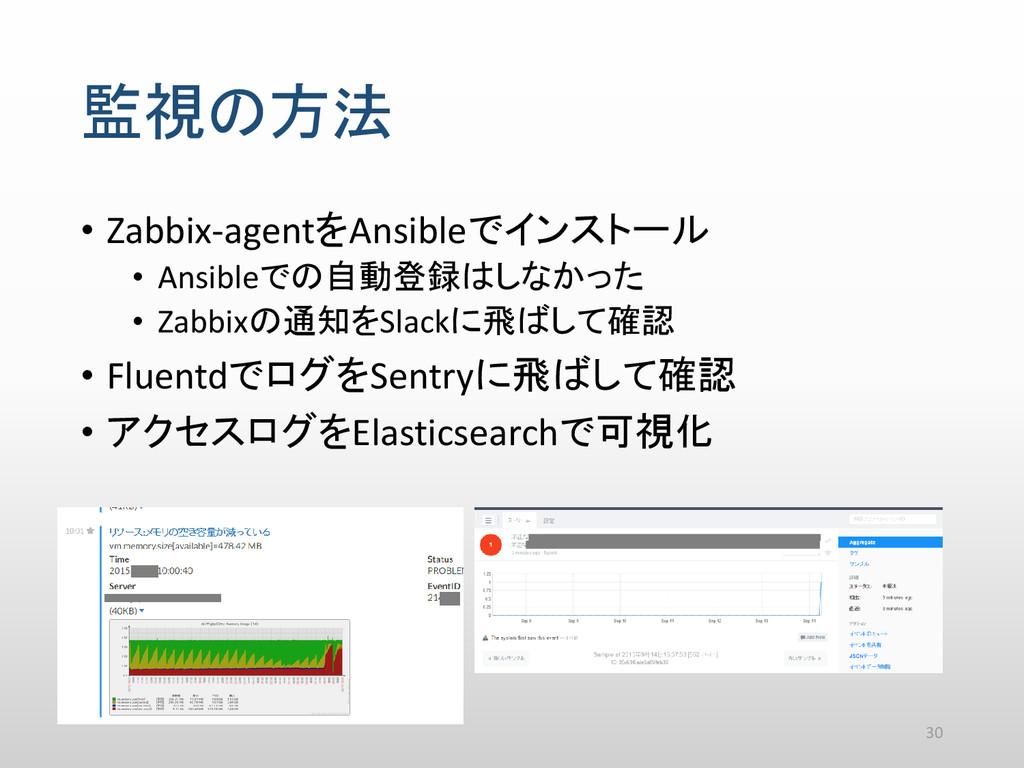 監視の方法 • Zabbix-agentをAnsibleでインストール • Ansibleでの...