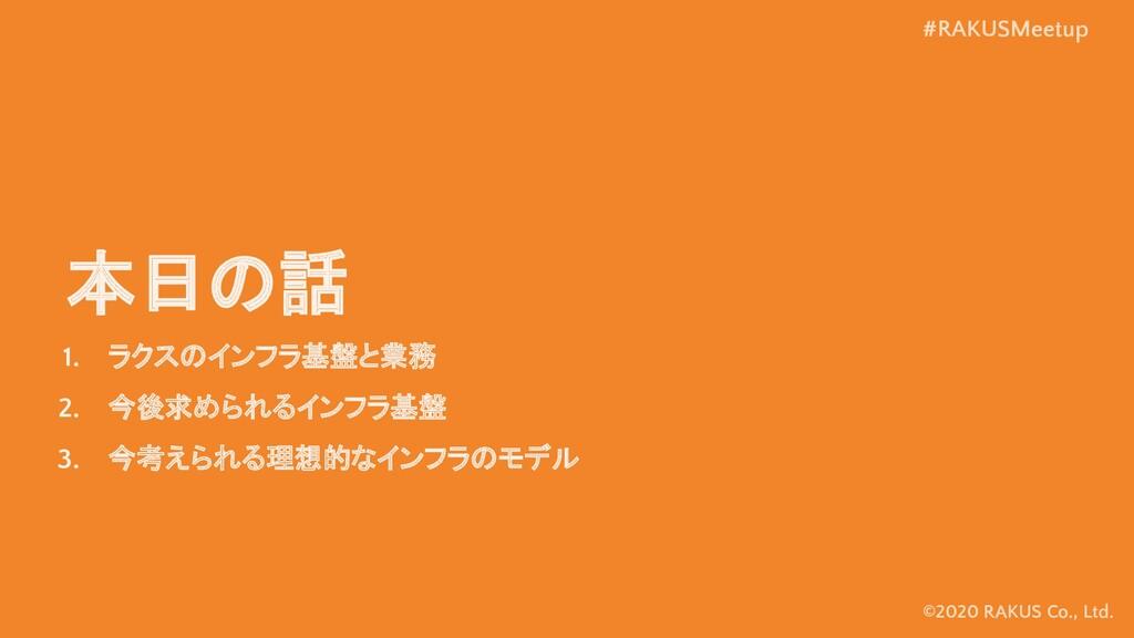 #RAKUSMeetup ©2020 RAKUS Co., Ltd. 本日の話 1. ラクスの...