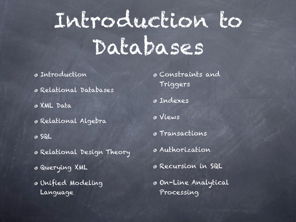 Introduction to Databases Introduction Relatio...