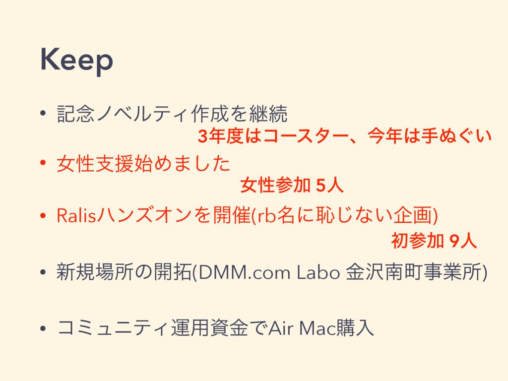 Keep • ه೦ϊϕϧςΟ࡞Λܧଓ • ঁੑࢧԉΊ·ͨ͠ • RalisϋϯζΦϯΛ։࠵...