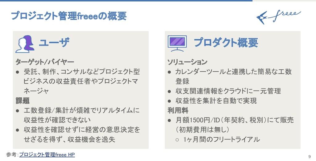 プロジェクト管理freeeの概要 ユーザ ターゲット/バイヤー ● 受託、制作、コンサルな...