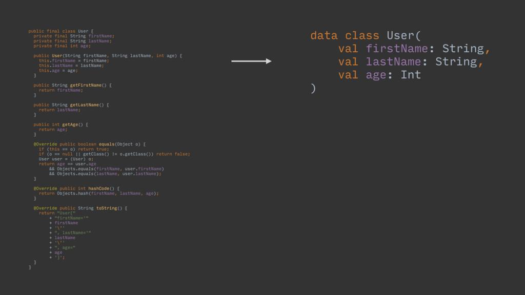 public final class User { private final String ...