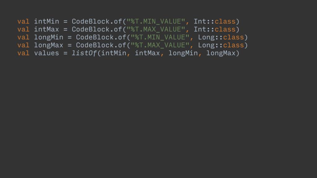 "val intMin = CodeBlock.of(""%T.MIN_VALUE"", Int::..."