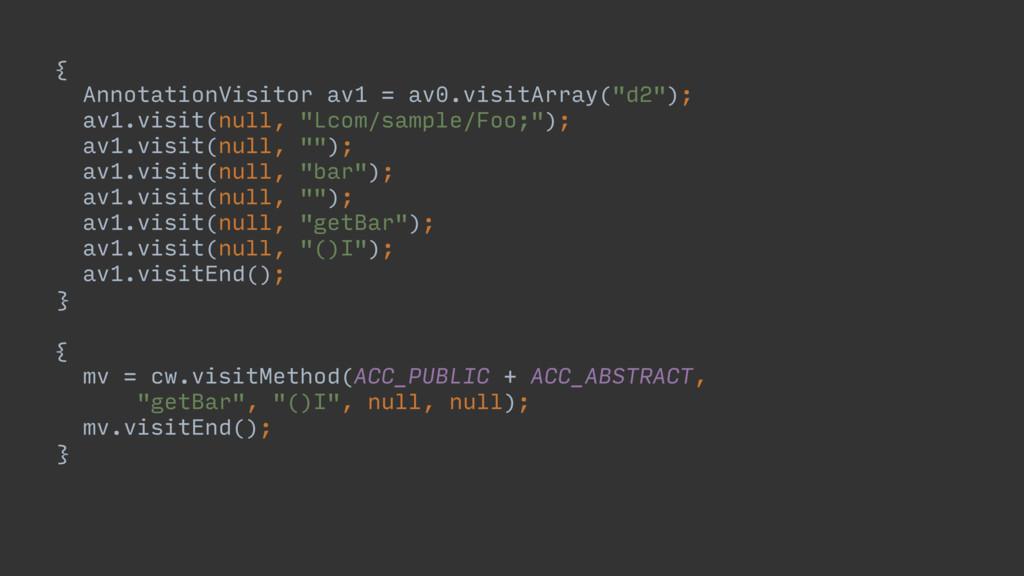 """{A AnnotationVisitor av1 = av0.visitArray(""""d2"""")..."""