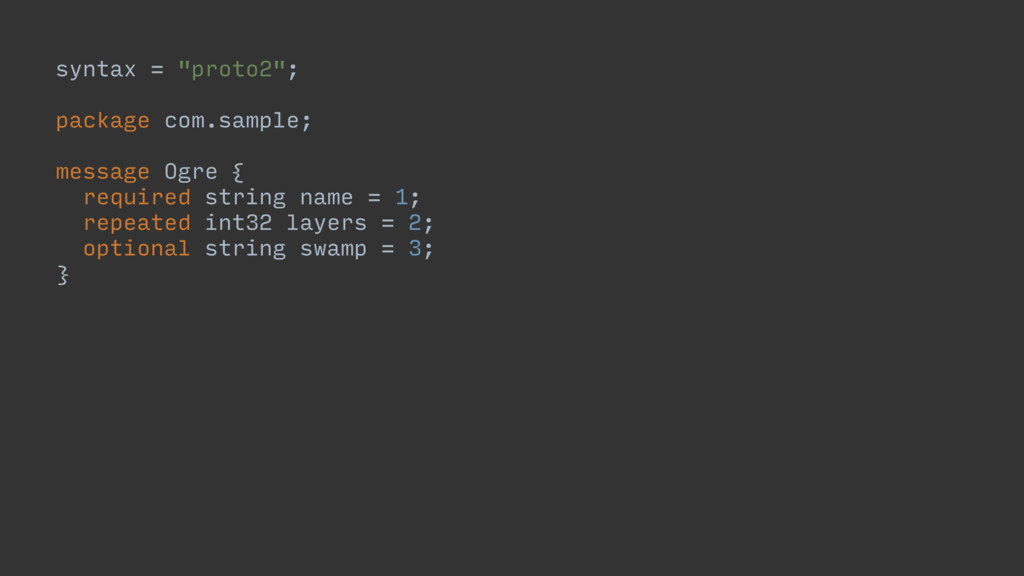 """syntax = """"proto2""""; package com.sample; message ..."""