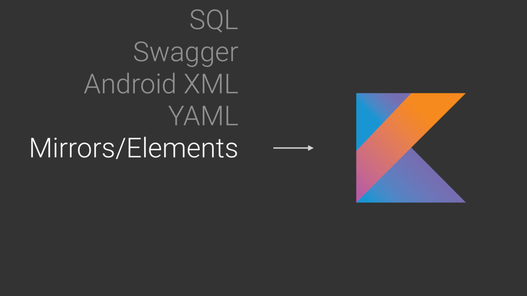 SQL Swagger Android XML YAML Mirrors/Elements