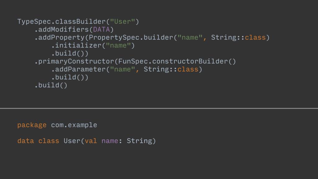 "name: String TypeSpec.classBuilder(""User"") .add..."
