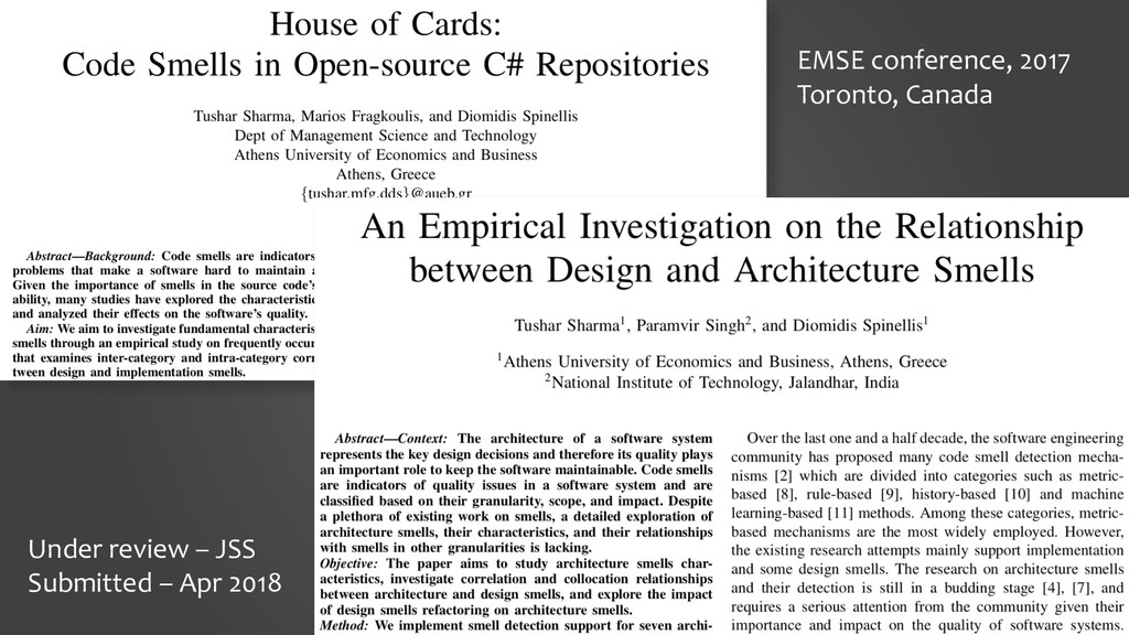 29 EMSE conference, 2017 Toronto, Canada Under ...