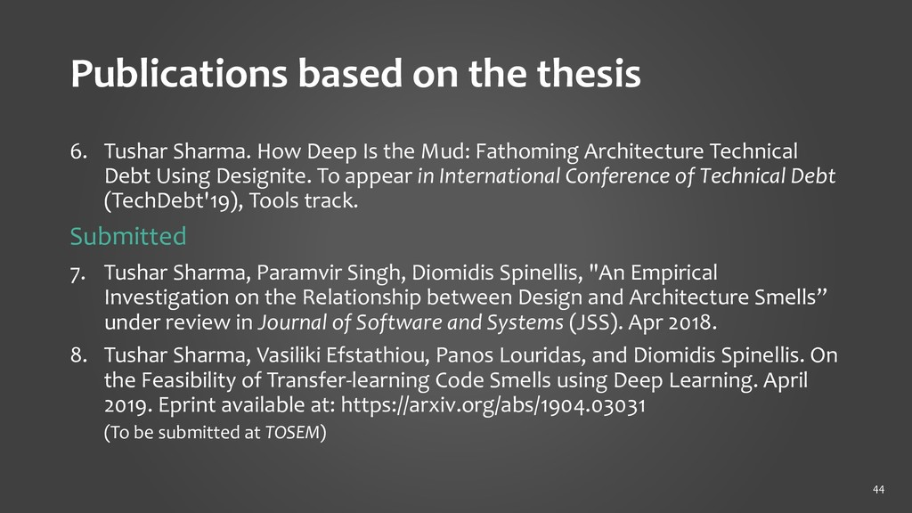 Publications based on the thesis 6. Tushar Shar...