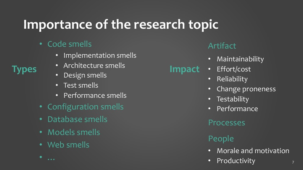 Importance of the research topic 7 Artifact • M...