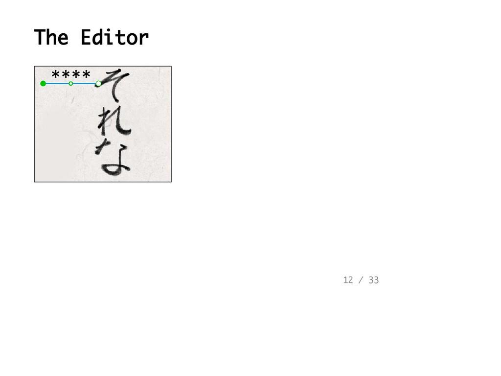 The Editor 12 / 33 **** ****