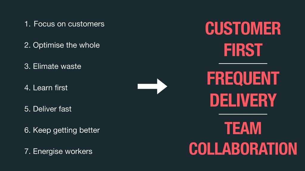 1. Focus on customers  2. Optimise the whole  3...