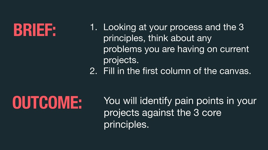 1. Looking at your process and the 3 principles...