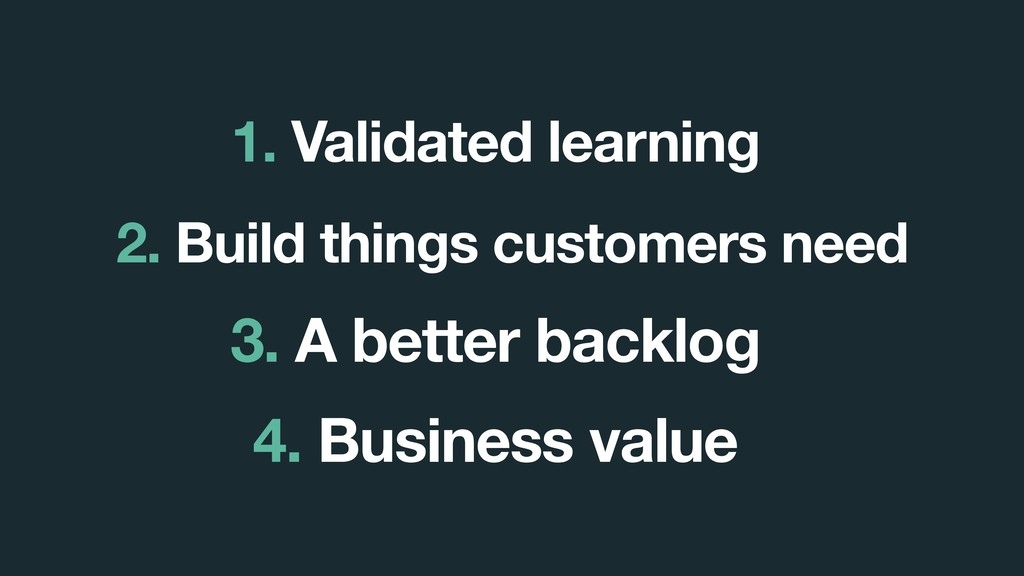 3. A better backlog 1. Validated learning 2. Bu...