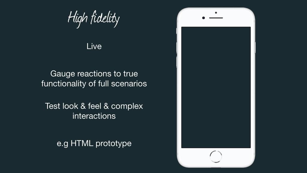 High fidelity Live Gauge reactions to true  fu...