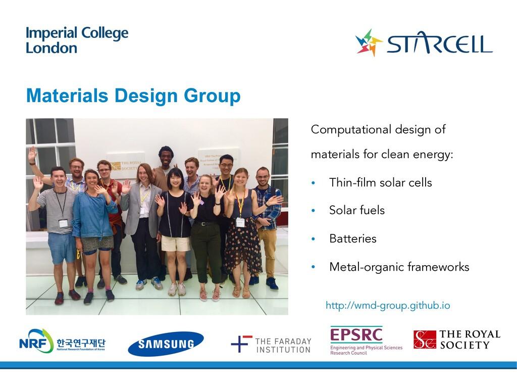 Materials Design Group Computational design of ...