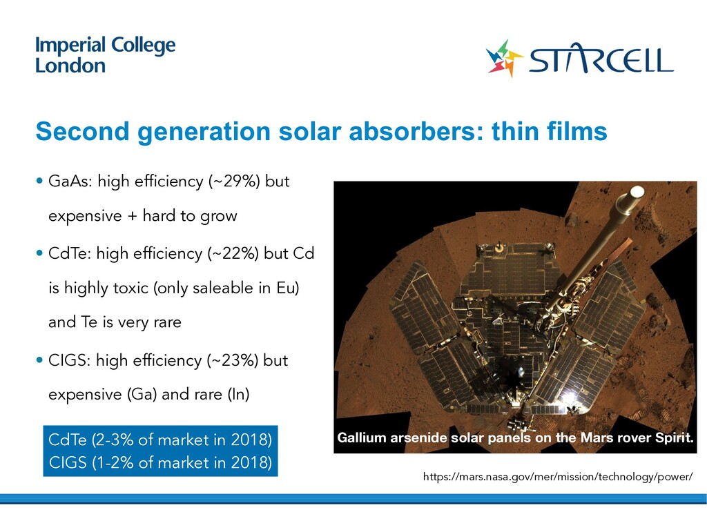 Second generation solar absorbers: thin films •...