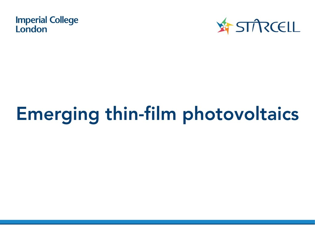 Emerging thin-film photovoltaics