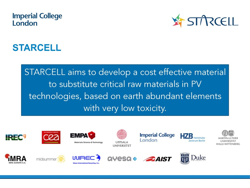 STARCELL STARCELL aims to develop a cost effect...