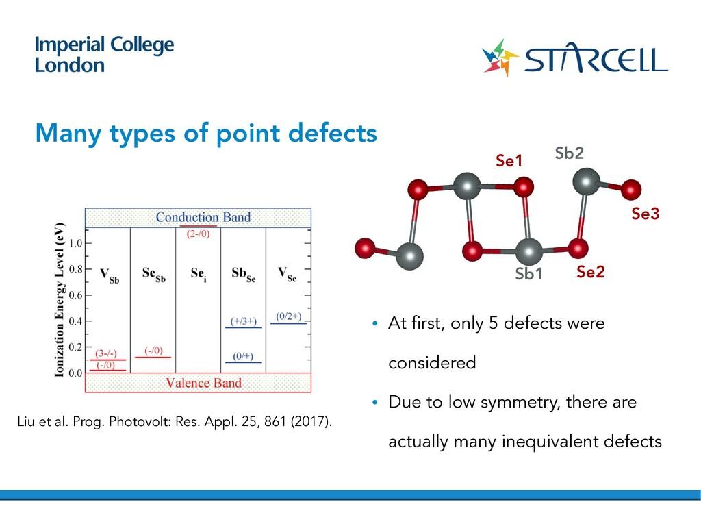 Many types of point defects Sb1 Se2 Se3 Sb2 Se1...