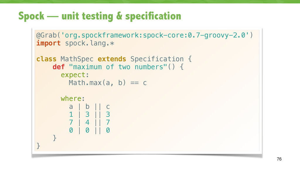 Spock — unit testing & specification 76 @Grab('...