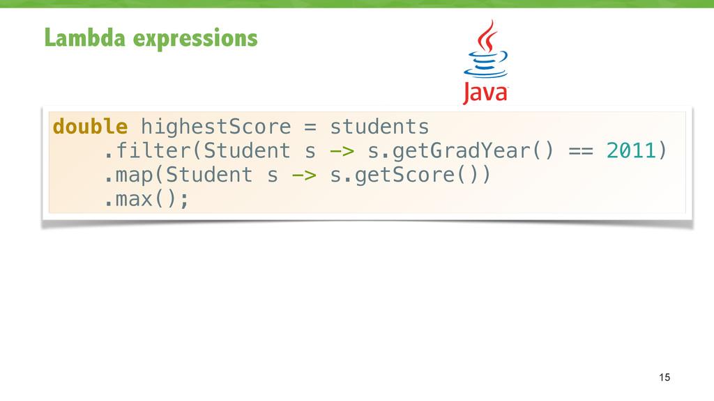 Lambda expressions 15 double highestScore = stu...