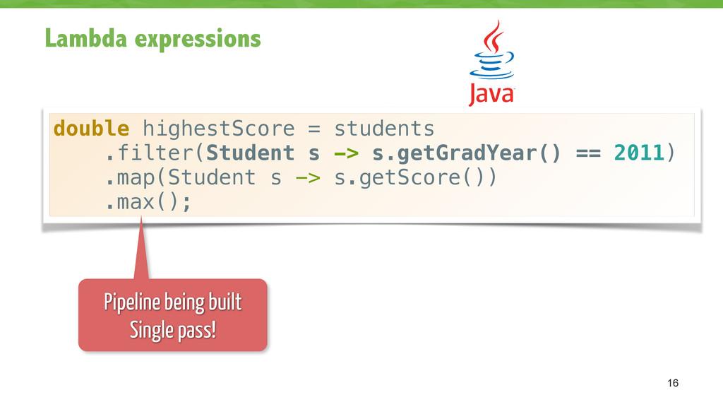 Lambda expressions 16 double highestScore = stu...