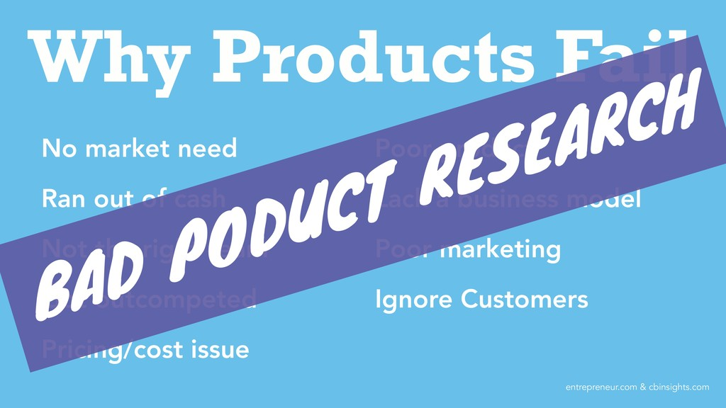 Why Products Fail No market need Ran out of cas...