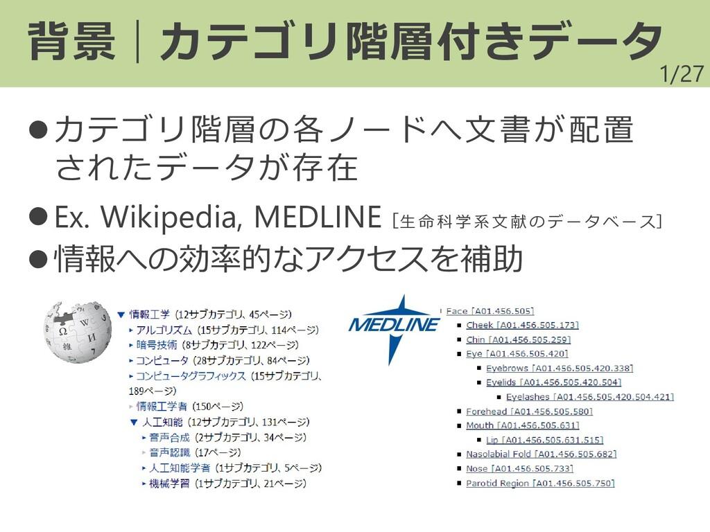 /27 ⚫カテゴリ階層の各ノードへ文書が配置 されたデータが存在 ⚫Ex. Wikipedia...