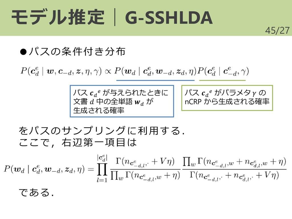 /27 モデル推定|G-SSHLDA 45 をパスのサンプリング に利 用す る. ここで,右...