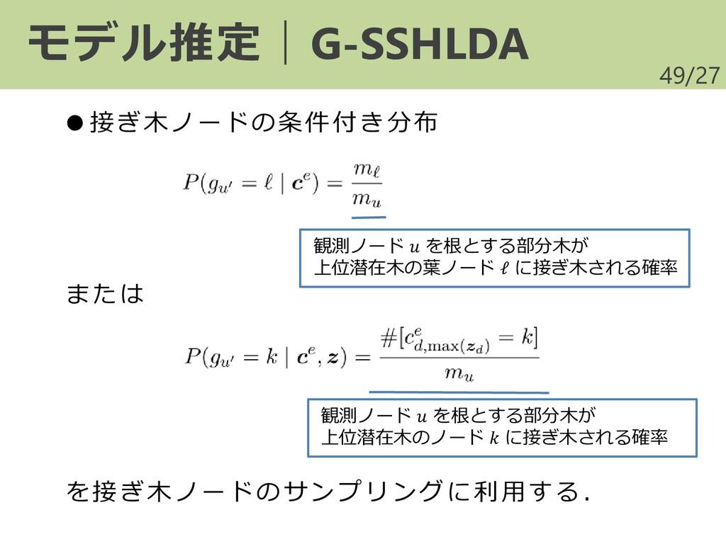 /27 49 モデル推定|G-SSHLDA ●接ぎ木ノードの条件付き分布 または を接ぎ木ノー...