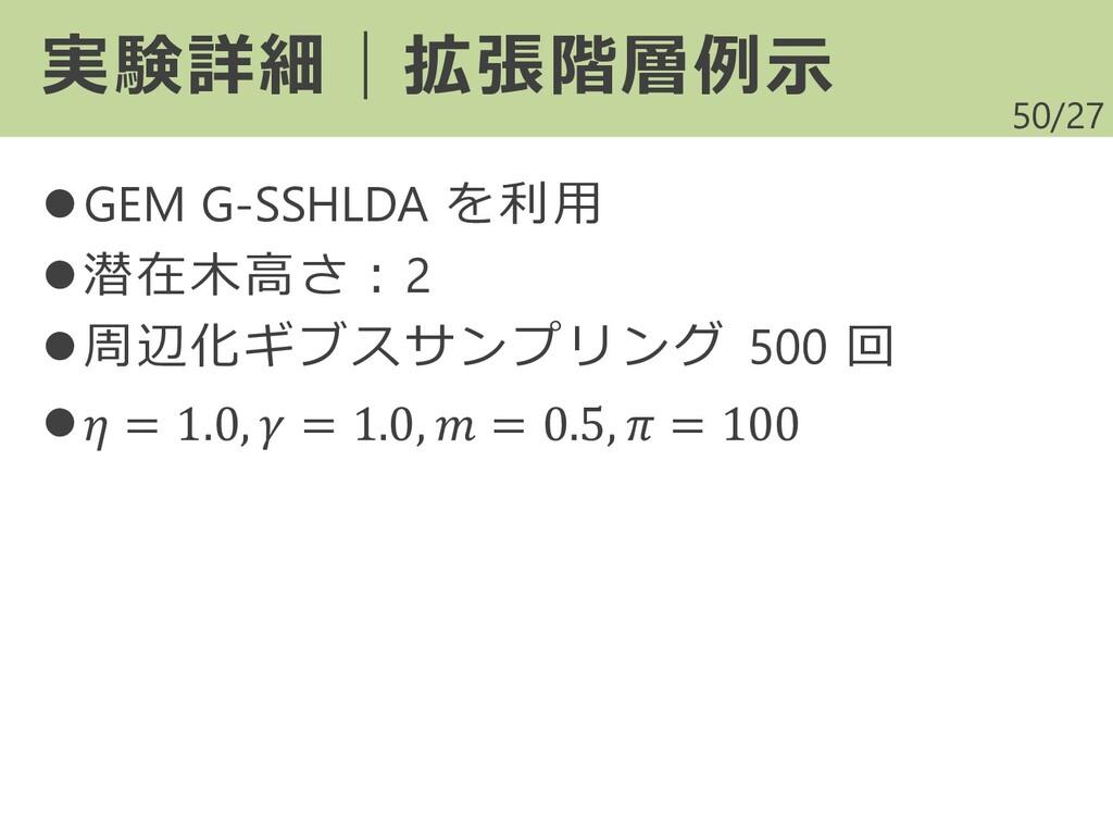 /27 ⚫GEM G-SSHLDA を利用 ⚫潜在木高さ:2 ⚫周辺化ギブスサンプリング 50...