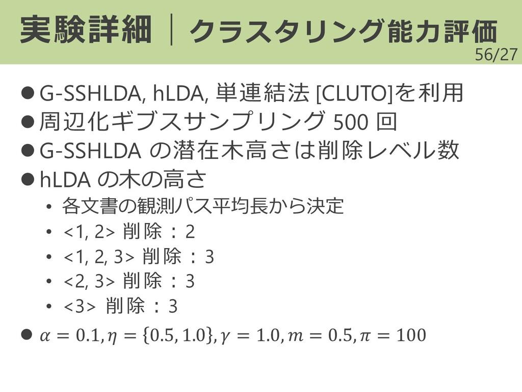 /27 ⚫ G-SSHLDA, hLDA, 単連結法 [CLUTO]を利用 ⚫ 周辺化ギブスサ...
