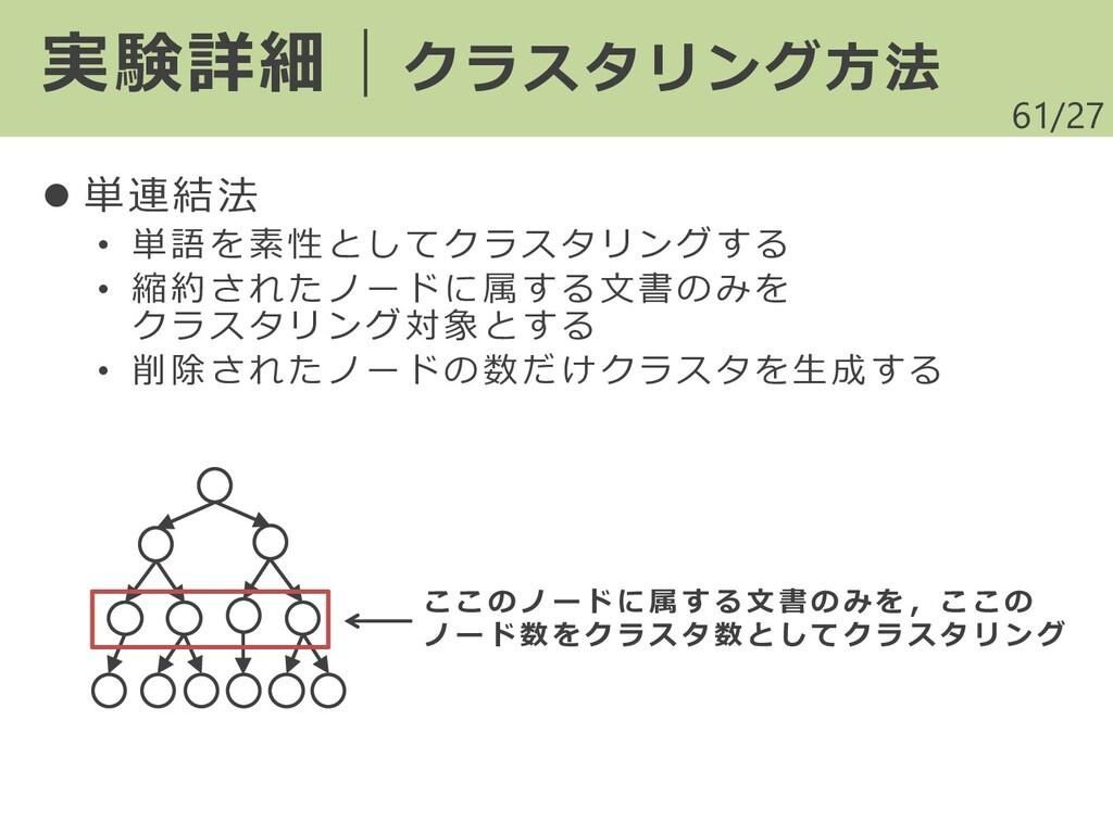 /27 ⚫ 単連結法 • 単語を素性としてクラスタリングする • 縮約されたノードに属する文書...