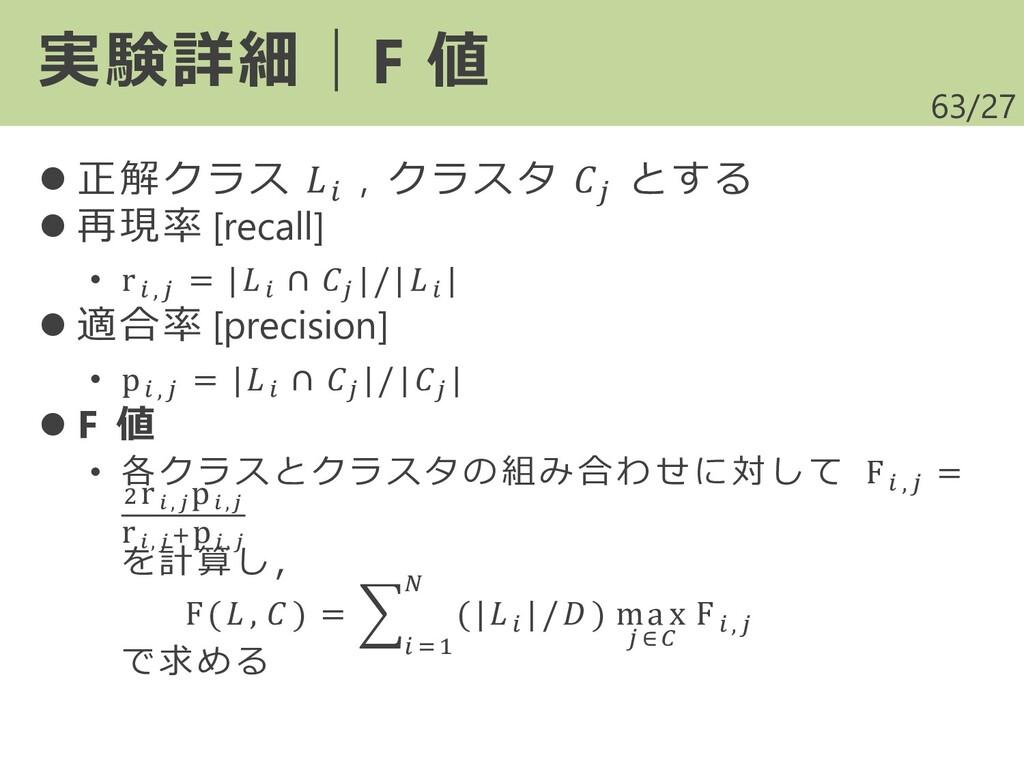 /27 ⚫ 正解クラス  , クラスタ  とする ⚫ 再現率 [recall] • r , =...