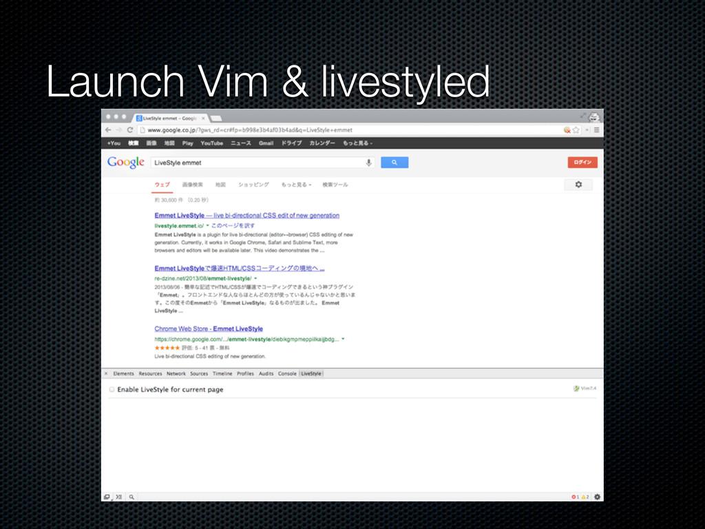 Launch Vim & livestyled