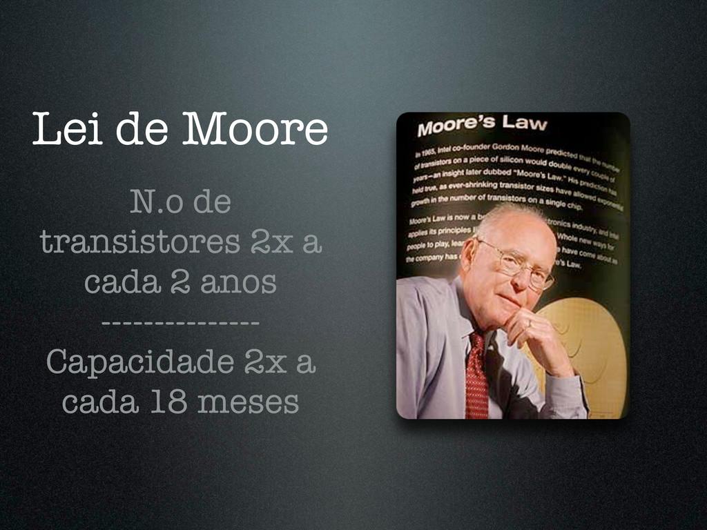 Lei de Moore N.o de transistores 2x a cada 2 an...