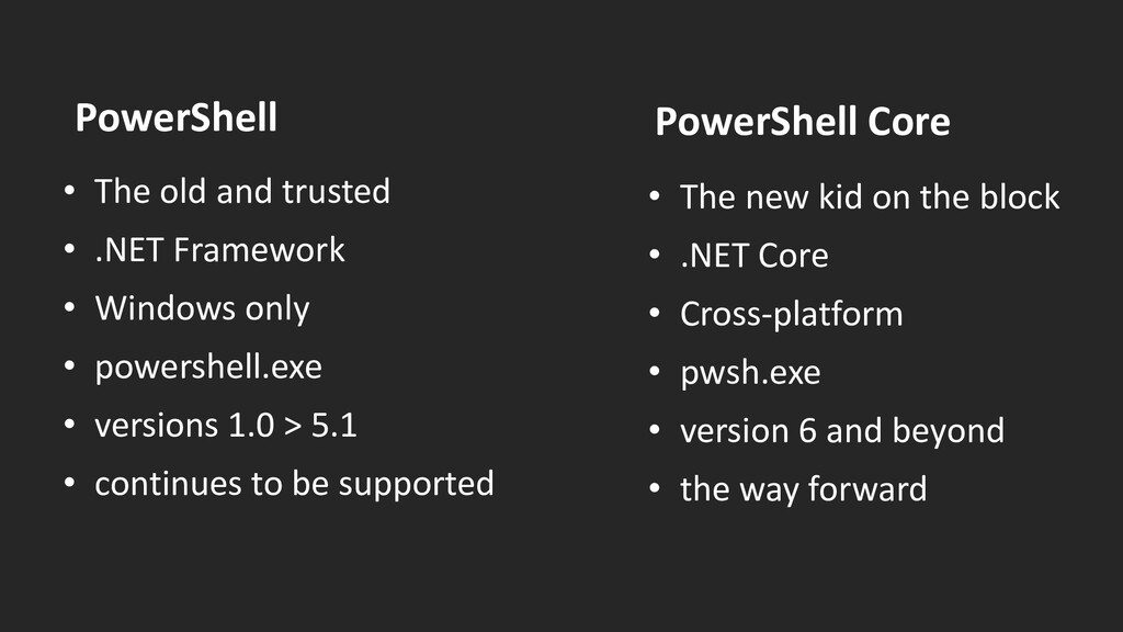 PowerShell • The old and trusted • .NET Framewo...