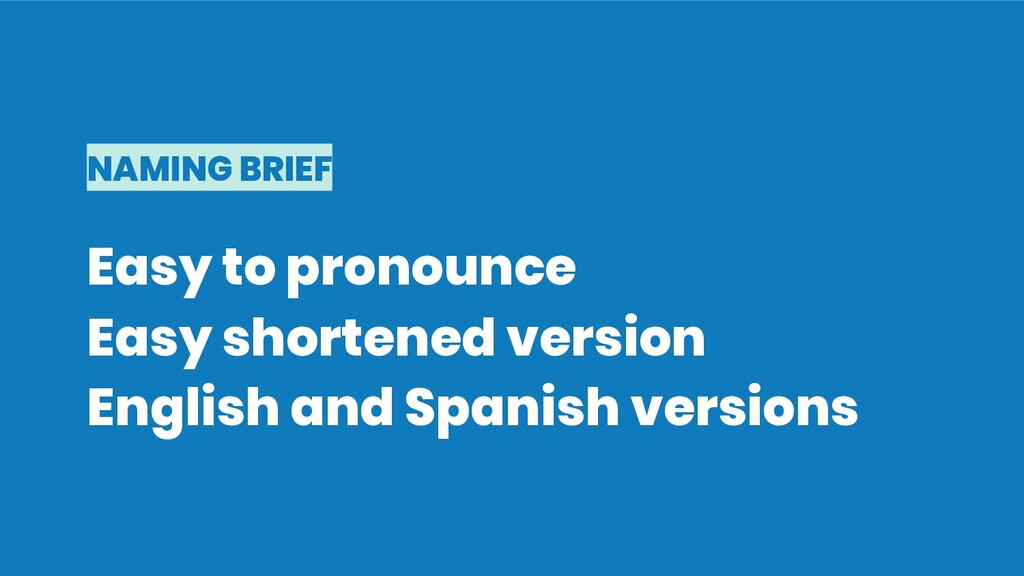 NAMING BRIEF Easy to pronounce Easy shortened v...
